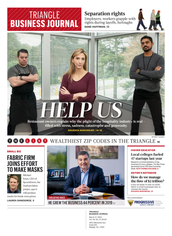 Triangle Business Journal Cover March 27 2020 Help Us G Patel