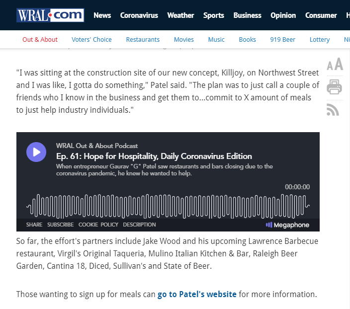 WRAL Out and About Podcast G Patel and Hope for Hospitality
